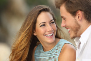 couple with attractive smiles